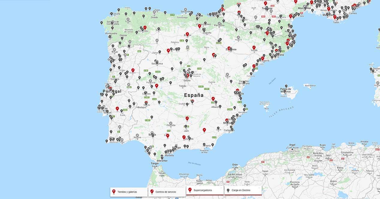 supercargadores y carga en destino españa 2018-2019