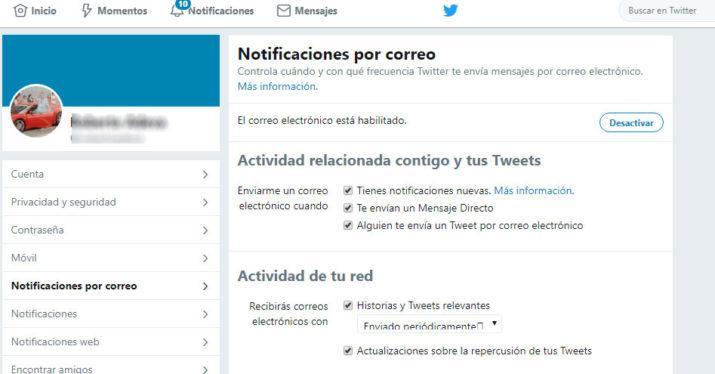 notificaciones por correo de Twitter