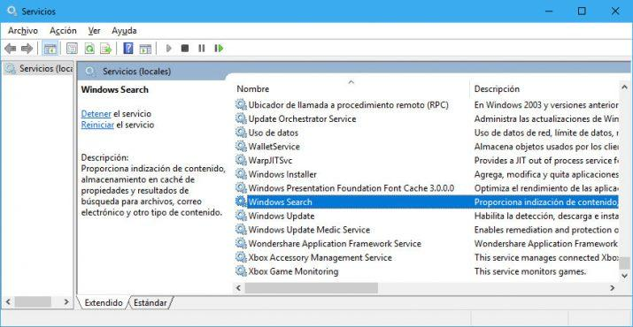 búsqueda de windows 10