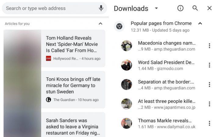 Chrome para Android descarga artículos