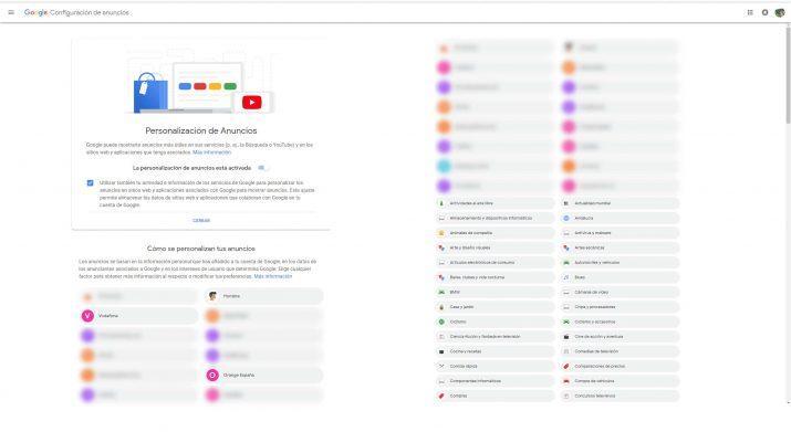 google personalizacion anuncios