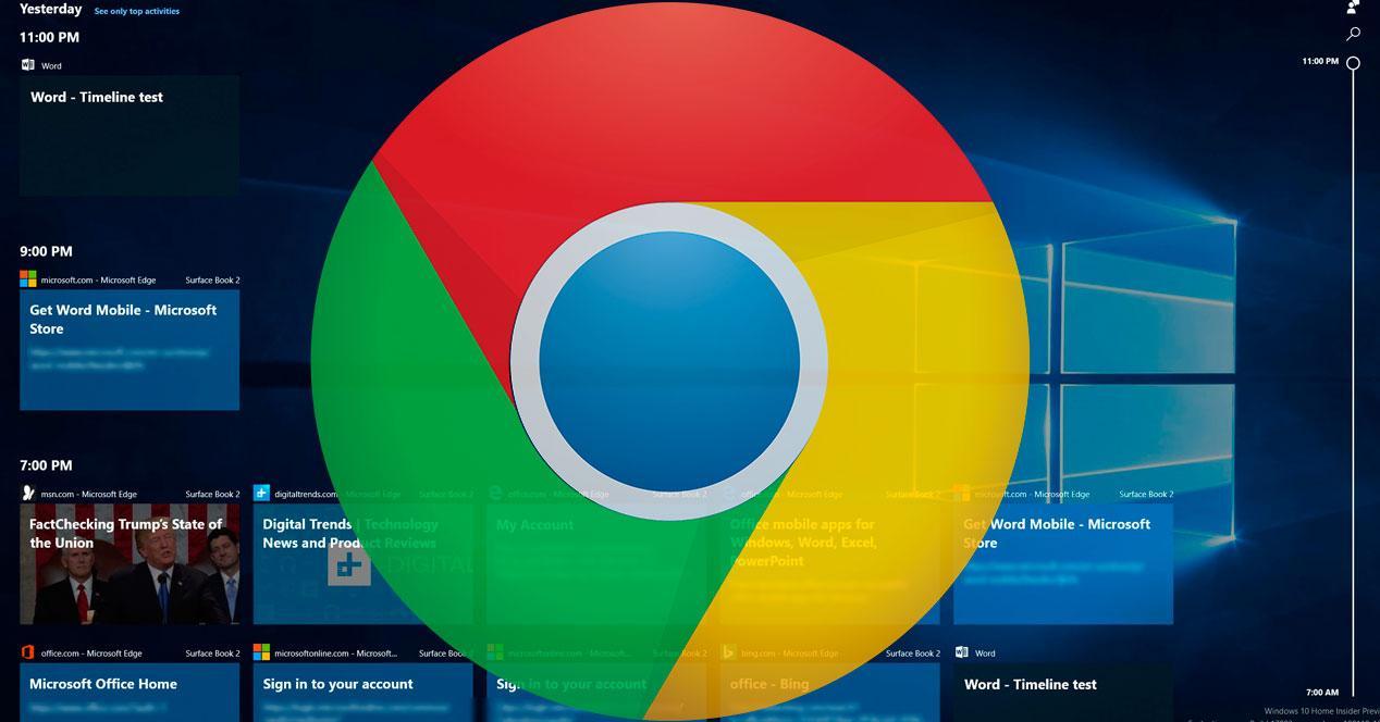 historial de Chrome en el TimeLine