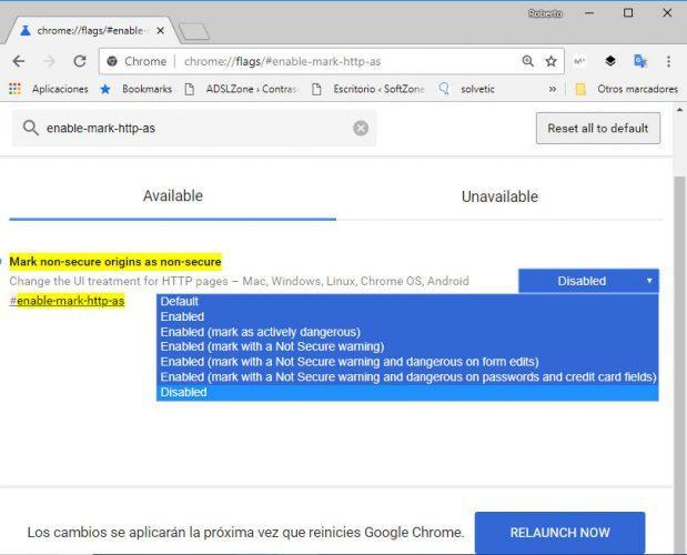 no seguras las páginas HTTP