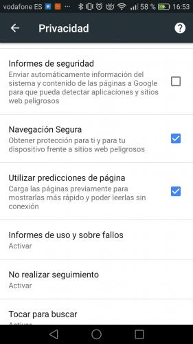 navegar seguro con Google chrome en Android