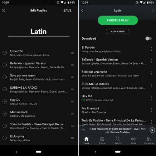 ordenar las canciones de tus playlist de Spotify