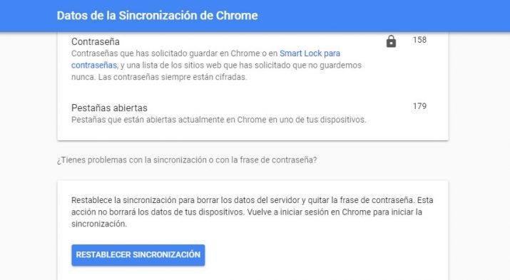 sincronización de Google Chrome