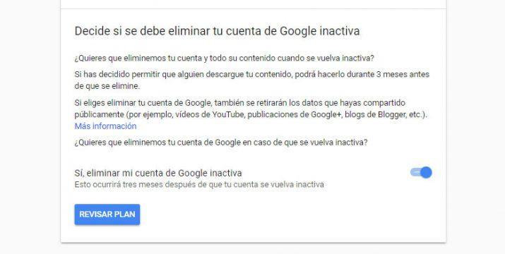 borrar la cuenta de Google