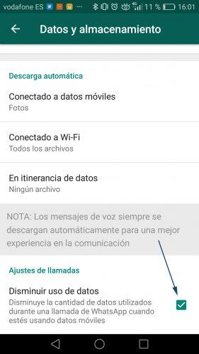 Ahorrar datos en WhatsApp