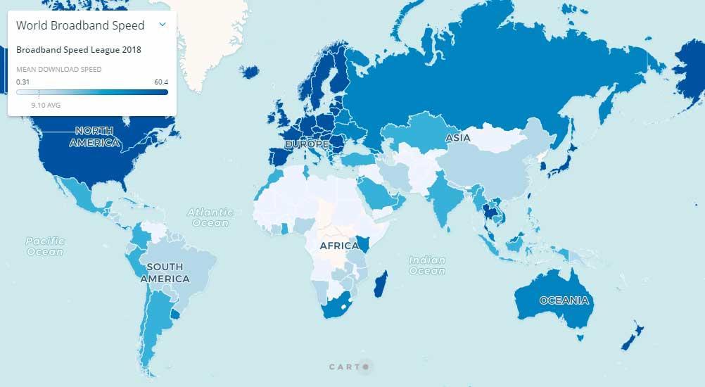 Conoce el ranking mundial de países con mayor velocidad en banda ancha