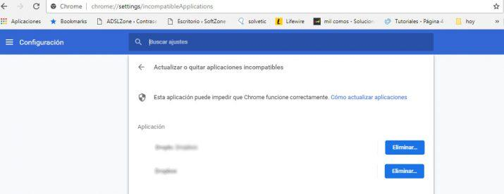 aplicaciones son incompatibles con Google chrome
