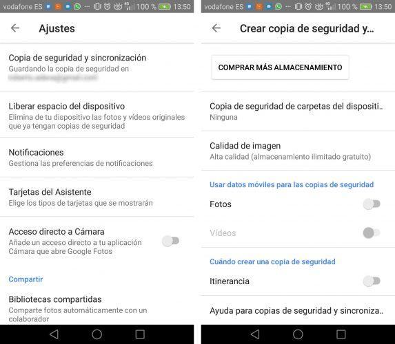 ahorrar datos en Google fotos