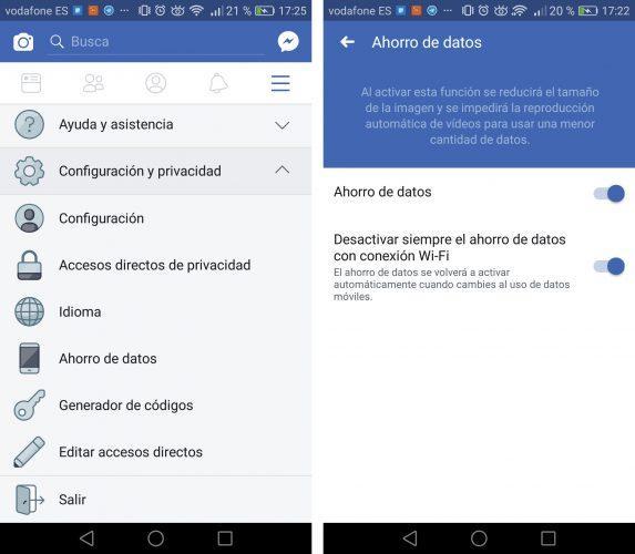 ahorrar datos en facebook