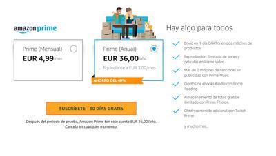 Amazon Prime sube de precio en España: 36 euros al año, un 80% más
