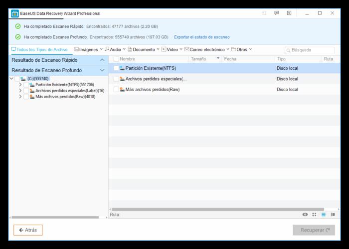 EaseUS Data Recovery - Datos encontrados en el disco duro para recuperar