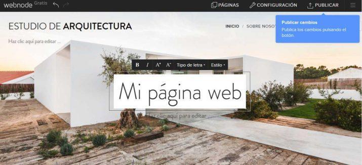 crear página web gratis webnode