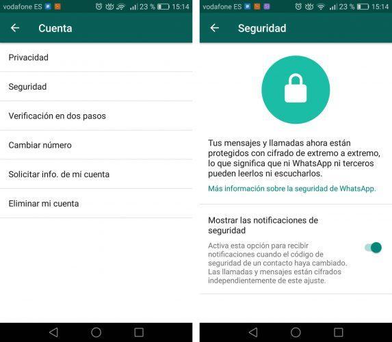 código de seguridad en WhatsApp