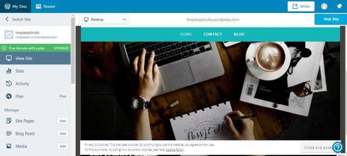 crear un página web gratis wordpress