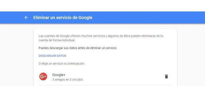 borrar la cuenta de Google+