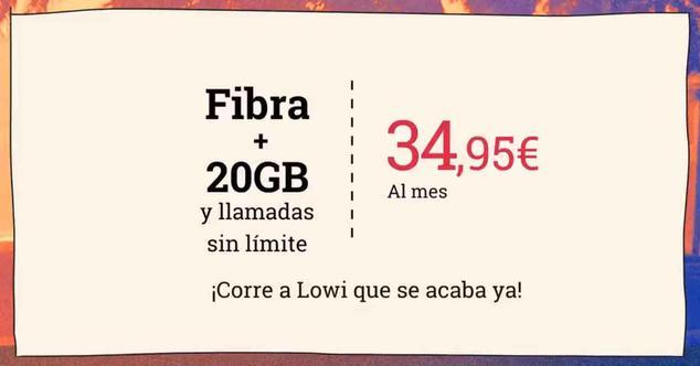 Ver noticia 'Último día para contrar fibra y móvil con 20 gigas por 34,95 euros con Lowi'
