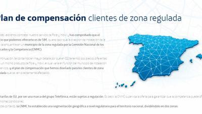 O2 compensará con hasta 220 euros de descuento cuando una ciudad deje de estar regulada