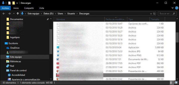 modo oscuro del explorador de archivos