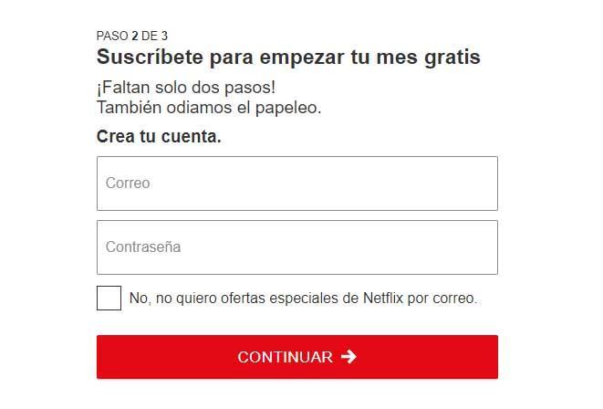 crear una cuenta de Netflix