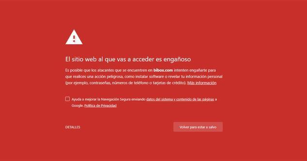 sitio web inseguro chrome