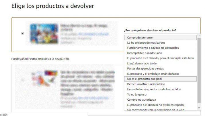 devolver un producto en Amazon