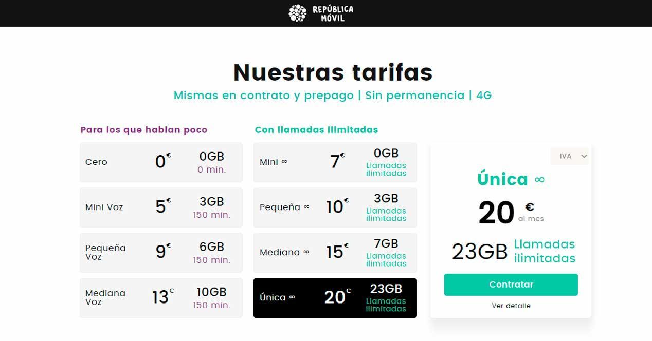 república móvil nuevas tarifas