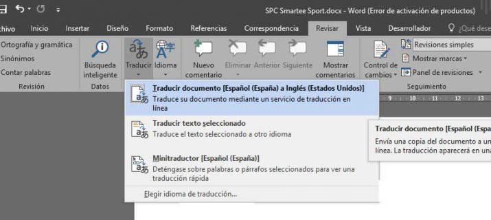 traducir un documento de Word