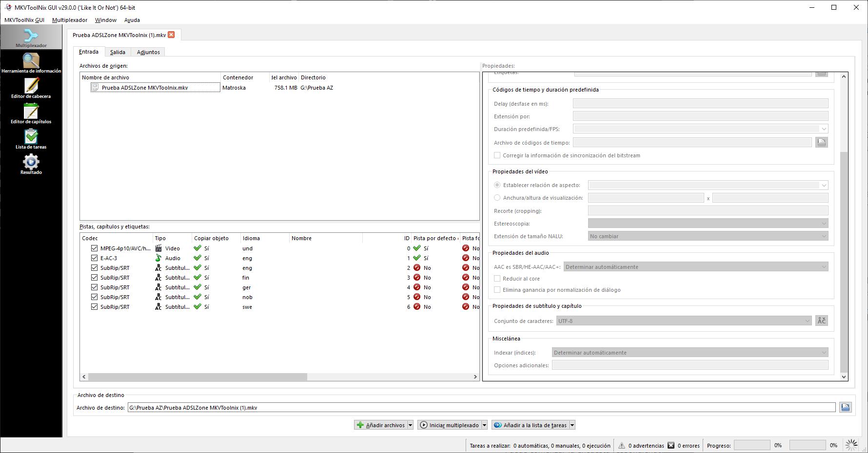 Cómo añadir subtítulos o audio a un archivo MKV con MKVToolnix