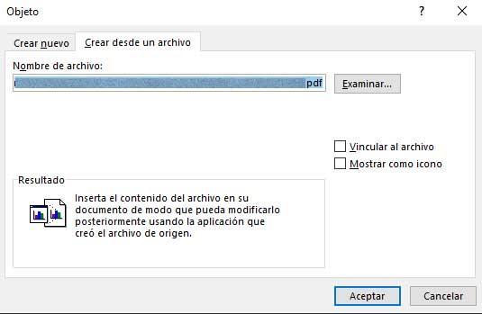 insertar un PDF en un documento Word