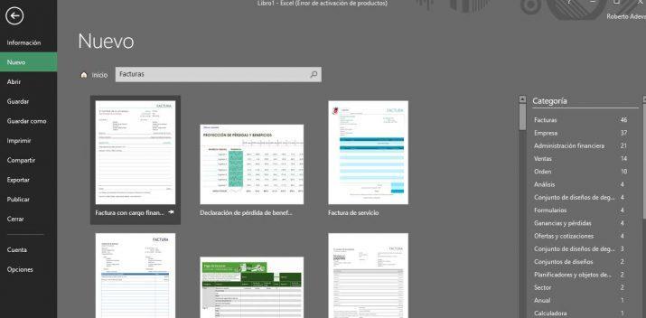 plantillas de facturas en Excel