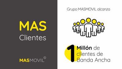 El Grupo MásMóvil ya tiene 1 millón de clientes de banda ancha y lo ha conseguido en tiempo récord