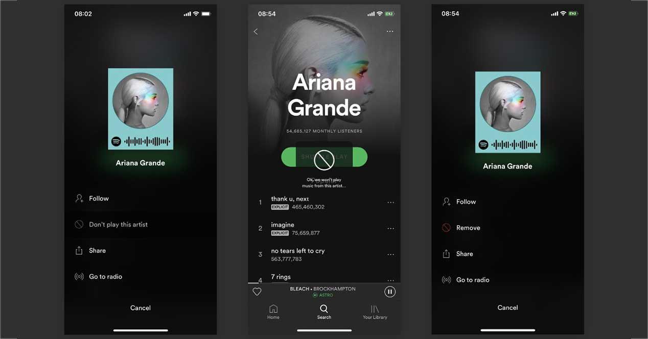 Spotify te permite ahora bloquear artistas que no quieres escuchar
