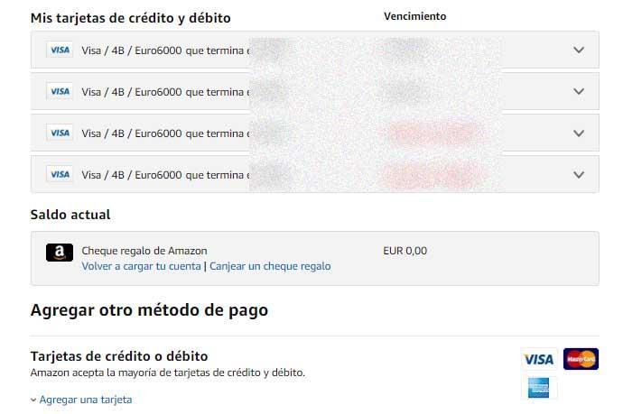 formas de pago en Amazon