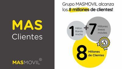El Grupo MásMóvil supera los 8 millones de clientes, casi el doble que cuando compró Yoigo y Pepephone