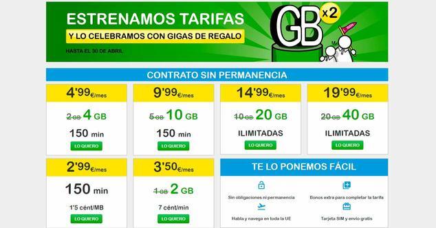 Ver noticia 'Nuevas tarifas de SUOP con más datos para navegar: en promoción hasta 40GB por menos de 20 euros'