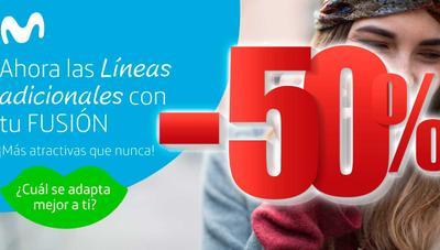 Las líneas adicionales Movistar Fusión al 50% de descuento llegan a todos los clientes