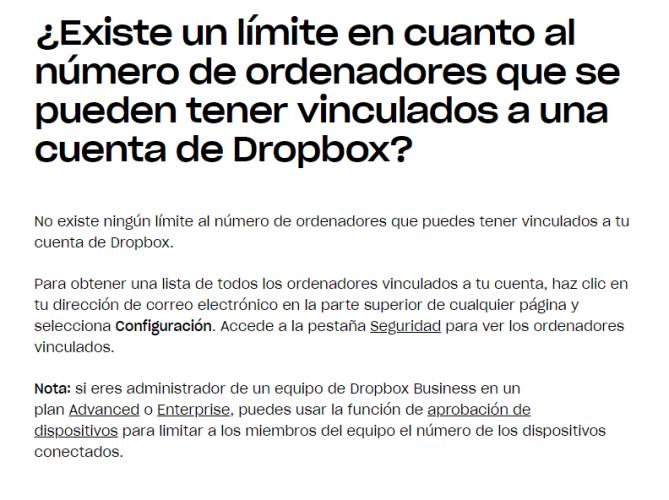 ayuda dropbox limite español