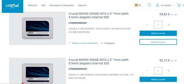 tamaño del SSD