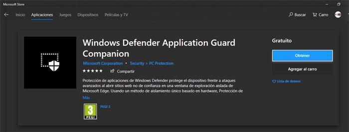 Extensiones Windows Defender