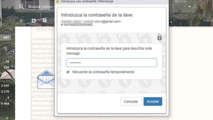 mensajes de Gmail con contraseña
