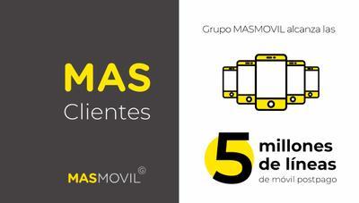 El Grupo MásMóvil ya tiene 5 millones de clientes de contrato móvil al ganar 900.000 en un año
