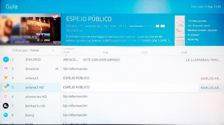 Samsung QLED 8K opciones de pantalla