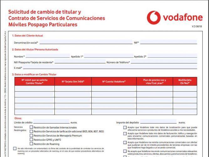 cambio de titular Vodafone