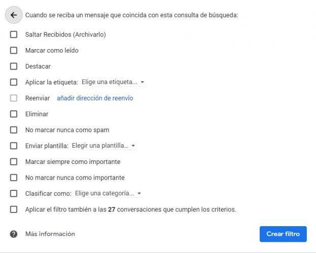 filtro en Gmail