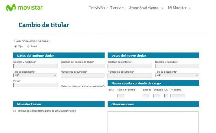 cambio de titular contrato Movistar