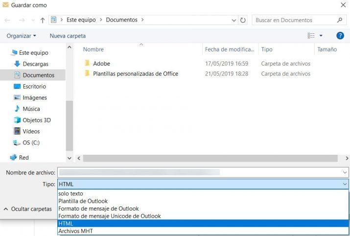 descargar los correos de Outlook