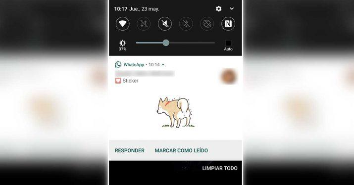whatsapp sticker notificaciones